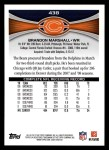 2012 Topps #438  Brandon Marshall  Back Thumbnail