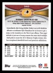 2012 Topps #340  Robert Griffin III  Back Thumbnail
