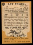 1967 Topps #17  Art Powell  Back Thumbnail