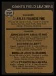 1973 Topps #252 ^ORG^  -  Charlie Fox / Joe Amalfitano / Andy Gilbert / Don McMahon / John McNamara Giants Leaders Back Thumbnail