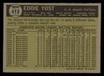 1961 Topps #413  Eddie Yost  Back Thumbnail