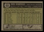 1961 Topps #453  Dick Schofield  Back Thumbnail
