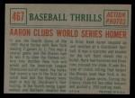 1959 Topps #467   -  Hank Aaron Clubs World Series Homer Back Thumbnail