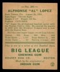 1938 Goudey Heads Up #281  Al Lopez  Back Thumbnail