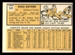 1963 Topps #543  Russ Snyder  Back Thumbnail