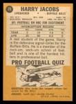 1967 Topps #23  Harry Jacobs  Back Thumbnail