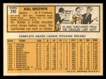 1963 Topps #289  Hal Brown  Back Thumbnail