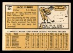1963 Topps #474  Jack Fisher  Back Thumbnail