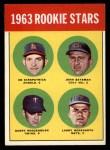 1963 Topps #386 LOW  -  Ed Kirkpatrick / John Bateman / Garry Roggenburk / Larry Bearnarth Rookies Front Thumbnail