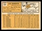 1963 Topps #429  Lew Burdette  Back Thumbnail