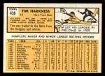 1963 Topps #436  Tim Harkness  Back Thumbnail