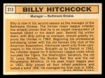 1963 Topps #213  Billy Hitchcock  Back Thumbnail