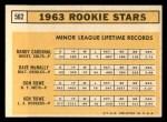 1963 Topps #562   -  Dave McNally / Ken Rowe / Randy Cardinal / Don Rowe Rookies   Back Thumbnail