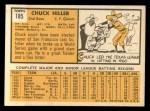1963 Topps #185 COR Chuck Hiller  Back Thumbnail