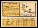 1963 Topps #85  Tom Haller  Back Thumbnail