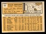 1963 Topps #187  Willie Kirkland  Back Thumbnail