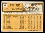 1963 Topps #346  Billy Hoeft  Back Thumbnail
