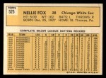1963 Topps #525  Nellie Fox  Back Thumbnail