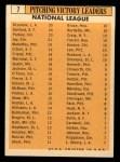 1963 Topps #7   -  Don Drysdale / Joey Jay / Art Mahaffey / Billy O'Dell / Bob Purkey / Jack Sanford NL Pitching Leaders Back Thumbnail