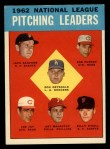 1963 Topps #7   -  Don Drysdale / Joey Jay / Art Mahaffey / Billy O'Dell / Bob Purkey / Jack Sanford NL Pitching Leaders Front Thumbnail