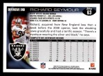 2010 Topps #63  Richard Seymour  Back Thumbnail
