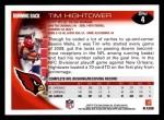 2010 Topps #4  Tim Hightower  Back Thumbnail
