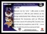 2010 Topps #103  Adrian Peterson  Back Thumbnail