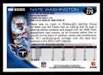 2010 Topps #276  Nate Washington  Back Thumbnail