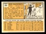 1963 Topps #399  Dick Ellsworth  Back Thumbnail