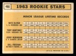 1963 Topps #466   -  Bill Freehan / Tony Martinez / Nate Oliver / Jerry Robinson Rookie Stars  Back Thumbnail