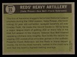 1961 Topps #25   -  Vada Pinson / Gus Bell / Frank Robinson Reds Heavy Artillery Back Thumbnail