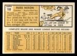 1963 Topps #168  Russ Nixon  Back Thumbnail