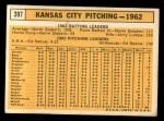 1963 Topps #397   Athletics Team Back Thumbnail