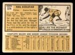 1963 Topps #574  Hal Kolstad  Back Thumbnail