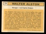 1963 Topps #154  Walter Alston  Back Thumbnail