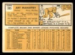 1963 Topps #385  Art Mahaffey  Back Thumbnail