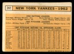 1963 Topps #247   Yankees Team Back Thumbnail