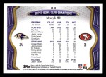 2013 Topps #23   -  Joe Flacco Baltimore Ravens SB XLVII Champs Back Thumbnail