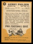1967 Topps #99  Gerry Philbin  Back Thumbnail