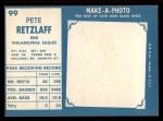 1961 Topps #99  Pete Retzlaff  Back Thumbnail