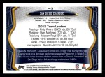 2013 Topps #431   San Diego Chargers Team Back Thumbnail