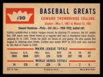 1960 Fleer #20 COR Eddie Collins  Back Thumbnail
