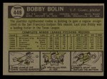 1961 Topps #449  Bobby Bolin  Back Thumbnail
