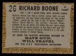 1958 Topps TV Westerns #26  Richard Boone   Back Thumbnail