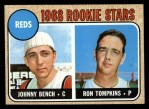 1968 Topps #247 COR  -  Johnny Bench / Ron Tompkins Reds Rookies  Front Thumbnail