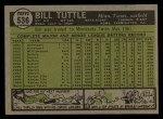 1961 Topps #536  Bill Tuttle  Back Thumbnail