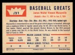 1960 Fleer #21  Rabbit Maranville  Back Thumbnail