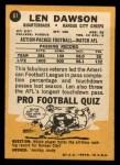1967 Topps #61  Len Dawson  Back Thumbnail