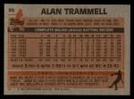 1983 Topps #95  Alan Trammell  Back Thumbnail