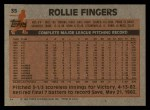 1983 Topps #35  Rollie Fingers  Back Thumbnail